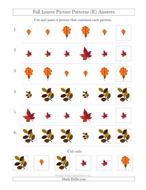 The Fall Leaves Picture Patterns with Size Attribute Only (E) Math Worksheet Page 2