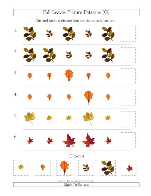 The Fall Leaves Picture Patterns with Size Attribute Only (G) Math Worksheet