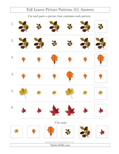 The Fall Leaves Picture Patterns with Size Attribute Only (G) Math Worksheet Page 2