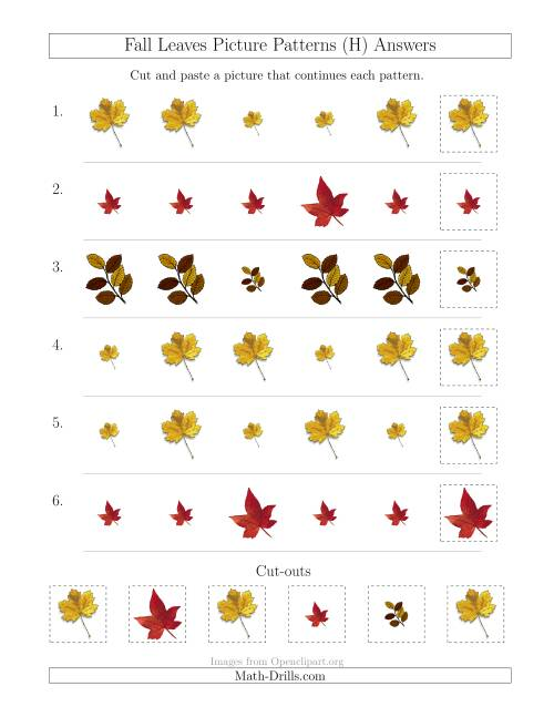 The Fall Leaves Picture Patterns with Size Attribute Only (H) Math Worksheet Page 2