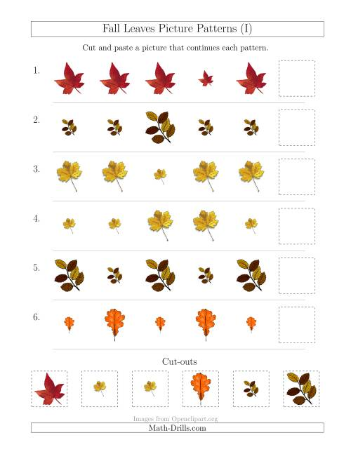 The Fall Leaves Picture Patterns with Size Attribute Only (I) Math Worksheet