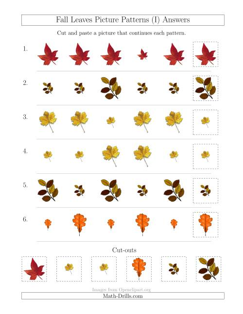 The Fall Leaves Picture Patterns with Size Attribute Only (I) Math Worksheet Page 2