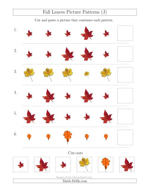 The Fall Leaves Picture Patterns with Size Attribute Only (J) Math Worksheet
