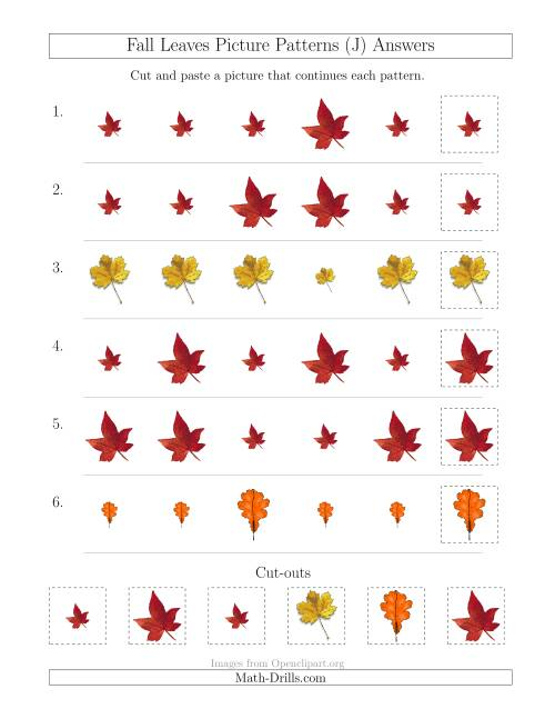 The Fall Leaves Picture Patterns with Size Attribute Only (J) Math Worksheet Page 2