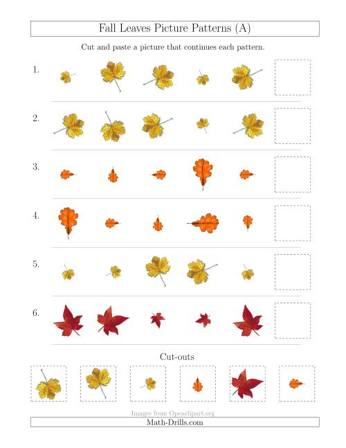 The Fall Leaves Picture Patterns with Size and Rotation Attributes (A) Math Worksheet