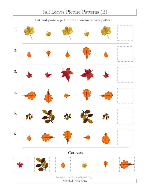The Fall Leaves Picture Patterns with Size and Rotation Attributes (B) Math Worksheet