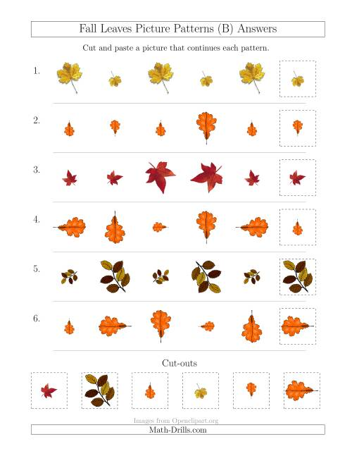 The Fall Leaves Picture Patterns with Size and Rotation Attributes (B) Math Worksheet Page 2
