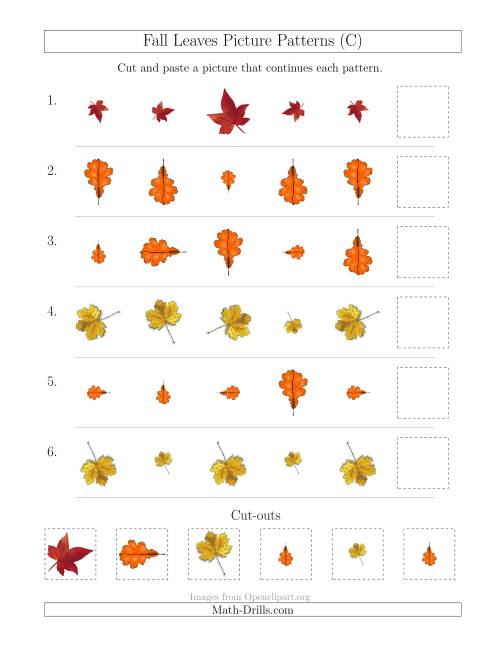 The Fall Leaves Picture Patterns with Size and Rotation Attributes (C) Math Worksheet