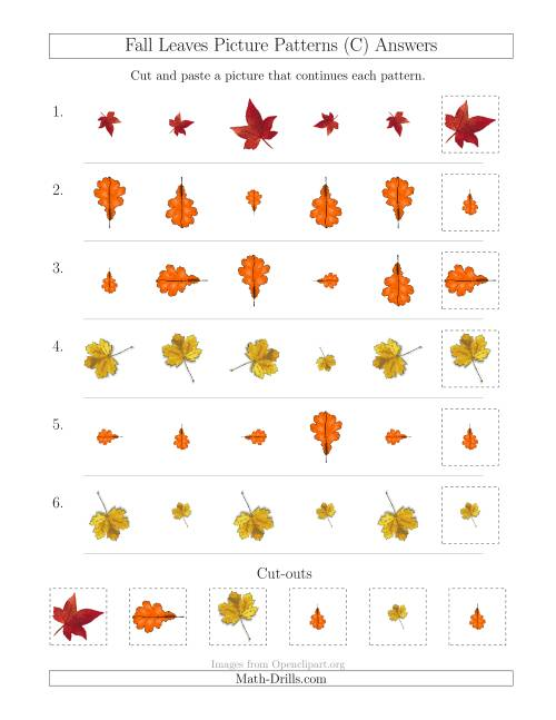The Fall Leaves Picture Patterns with Size and Rotation Attributes (C) Math Worksheet Page 2