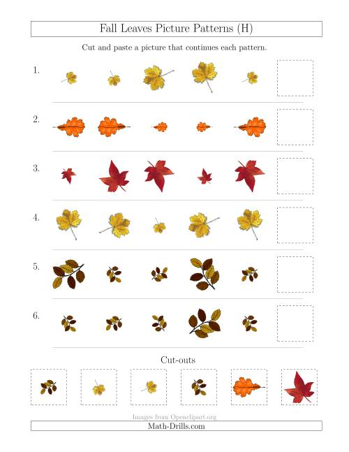 The Fall Leaves Picture Patterns with Size and Rotation Attributes (H) Math Worksheet