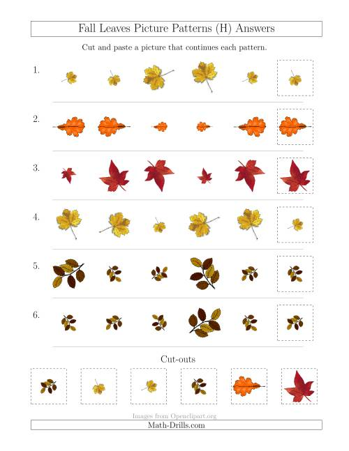 The Fall Leaves Picture Patterns with Size and Rotation Attributes (H) Math Worksheet Page 2