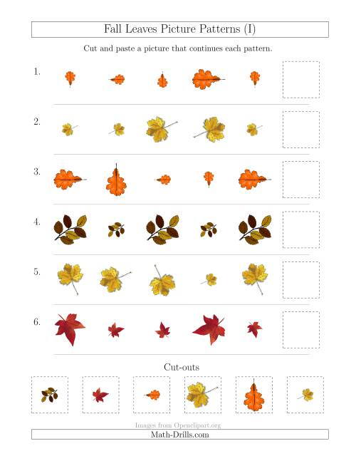 The Fall Leaves Picture Patterns with Size and Rotation Attributes (I) Math Worksheet