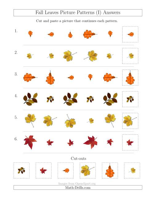 The Fall Leaves Picture Patterns with Size and Rotation Attributes (I) Math Worksheet Page 2