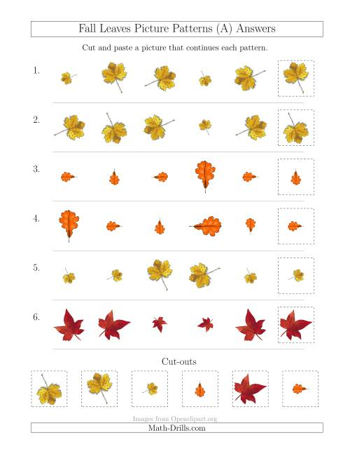 The Fall Leaves Picture Patterns with Size and Rotation Attributes (All) Math Worksheet Page 2