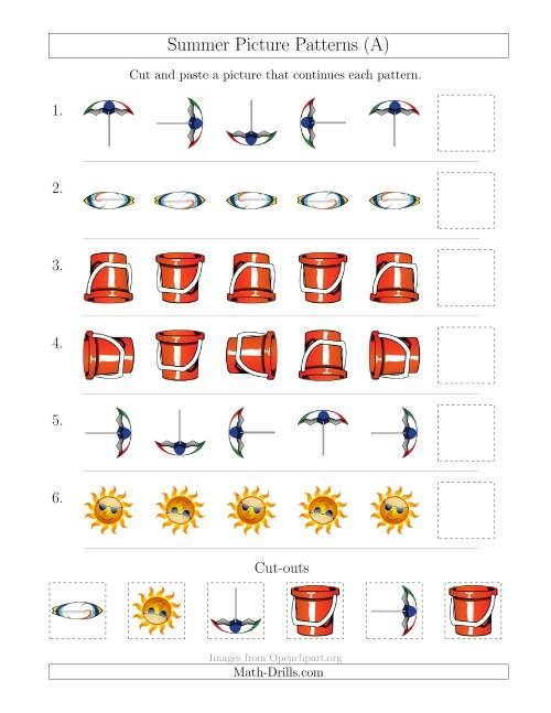 The Summer Picture Patterns with Rotation Attribute Only (A) Math Worksheet