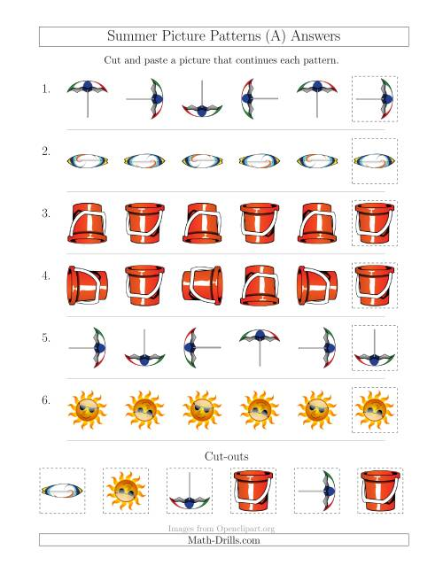The Summer Picture Patterns with Rotation Attribute Only (A) Math Worksheet Page 2