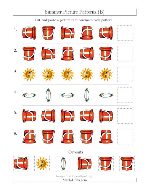 The Summer Picture Patterns with Rotation Attribute Only (B) Math Worksheet