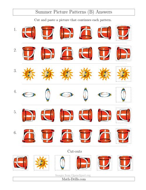 The Summer Picture Patterns with Rotation Attribute Only (B) Math Worksheet Page 2