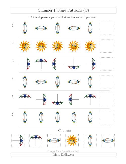 The Summer Picture Patterns with Rotation Attribute Only (C) Math Worksheet