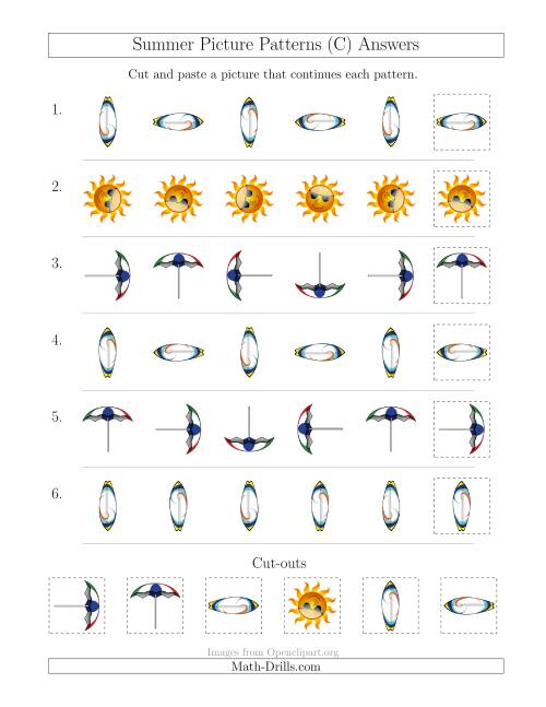 The Summer Picture Patterns with Rotation Attribute Only (C) Math Worksheet Page 2