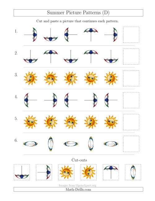 The Summer Picture Patterns with Rotation Attribute Only (D) Math Worksheet