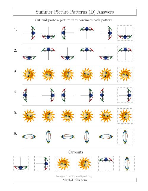 The Summer Picture Patterns with Rotation Attribute Only (D) Math Worksheet Page 2