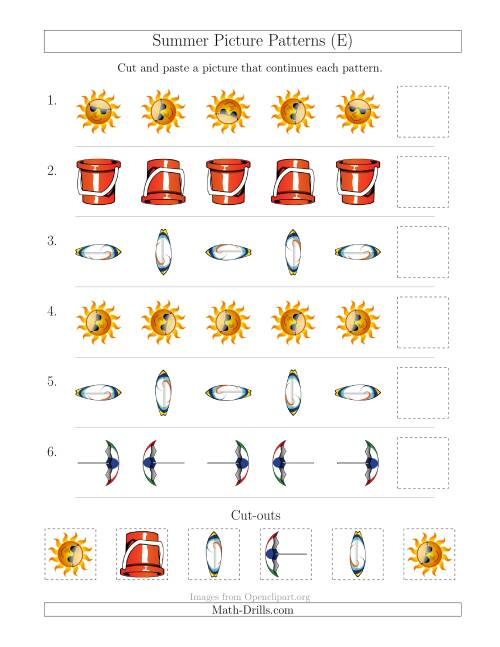 The Summer Picture Patterns with Rotation Attribute Only (E) Math Worksheet