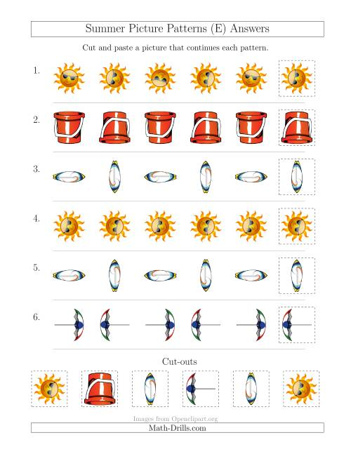 The Summer Picture Patterns with Rotation Attribute Only (E) Math Worksheet Page 2