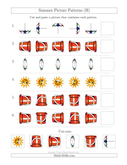 The Summer Picture Patterns with Rotation Attribute Only (H) Math Worksheet