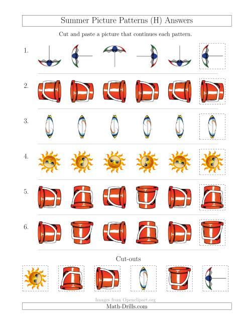 The Summer Picture Patterns with Rotation Attribute Only (H) Math Worksheet Page 2