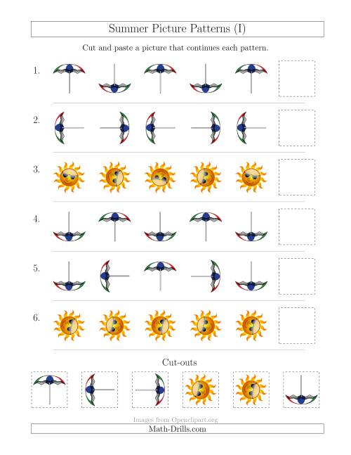The Summer Picture Patterns with Rotation Attribute Only (I) Math Worksheet