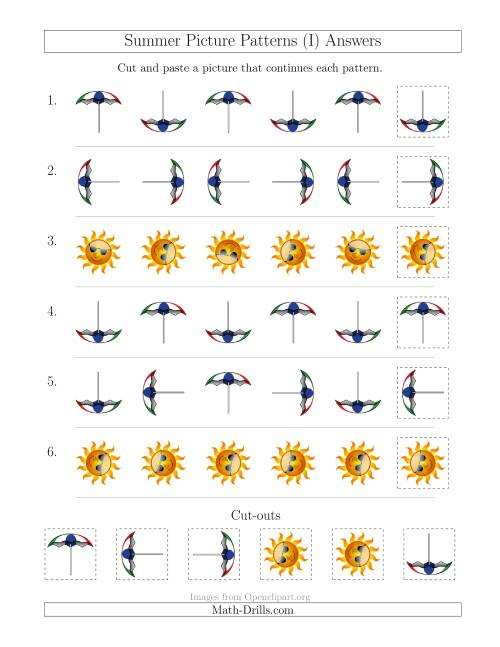 The Summer Picture Patterns with Rotation Attribute Only (I) Math Worksheet Page 2