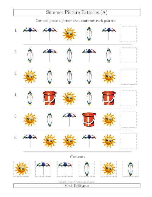 Summer Picture Patterns with Shape Attribute Only A – Patterning Worksheet