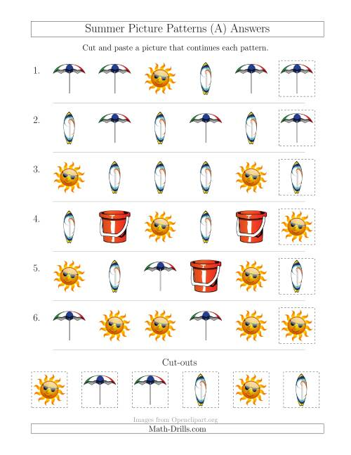 The Summer Picture Patterns with Shape Attribute Only (A) Math Worksheet Page 2