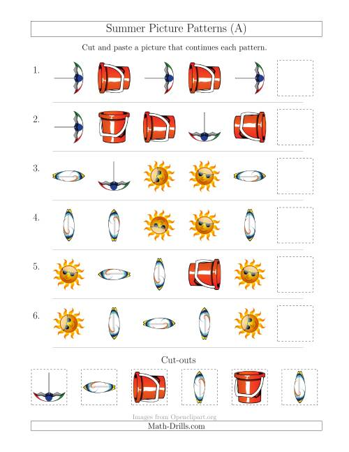 The Summer Picture Patterns with Shape and Rotation Attributes (A) Math Worksheet