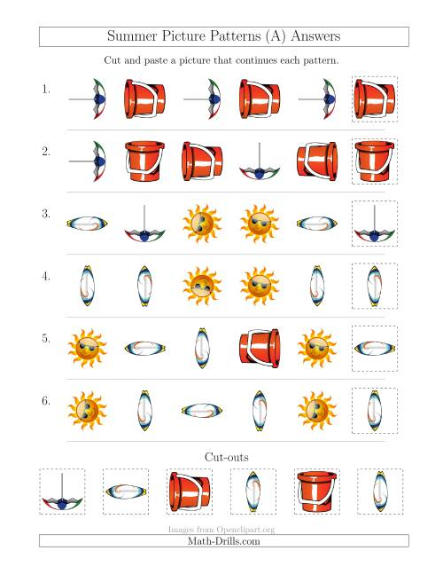The Summer Picture Patterns with Shape and Rotation Attributes (A) Math Worksheet Page 2