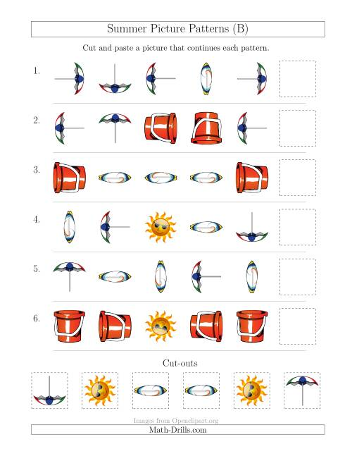 The Summer Picture Patterns with Shape and Rotation Attributes (B) Math Worksheet