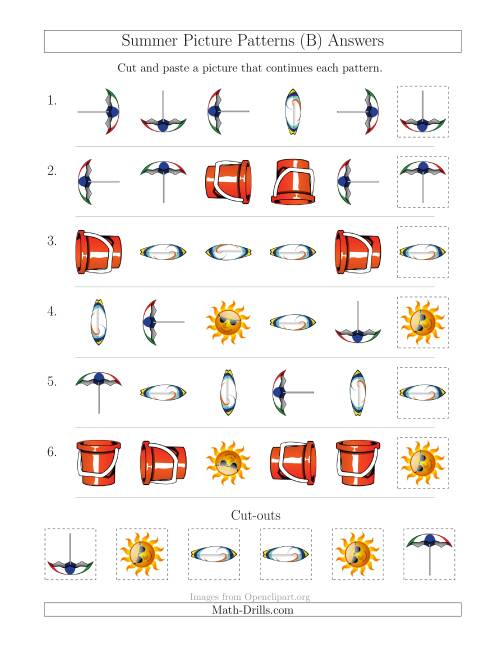 The Summer Picture Patterns with Shape and Rotation Attributes (B) Math Worksheet Page 2