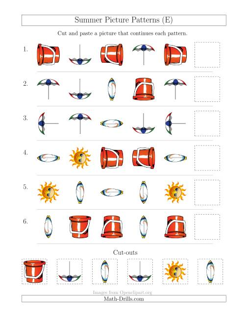 The Summer Picture Patterns with Shape and Rotation Attributes (E) Math Worksheet