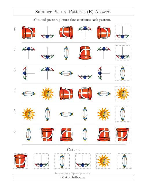 The Summer Picture Patterns with Shape and Rotation Attributes (E) Math Worksheet Page 2