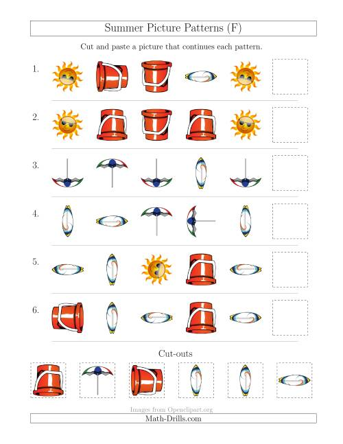 The Summer Picture Patterns with Shape and Rotation Attributes (F) Math Worksheet