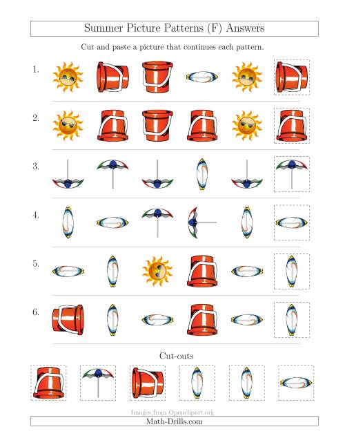 The Summer Picture Patterns with Shape and Rotation Attributes (F) Math Worksheet Page 2