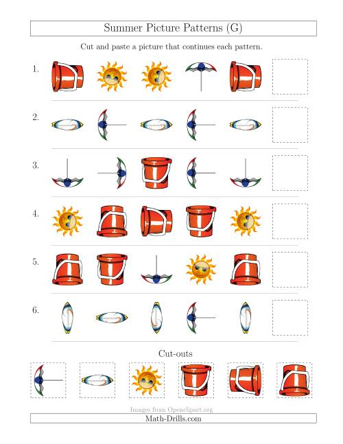 The Summer Picture Patterns with Shape and Rotation Attributes (G) Math Worksheet