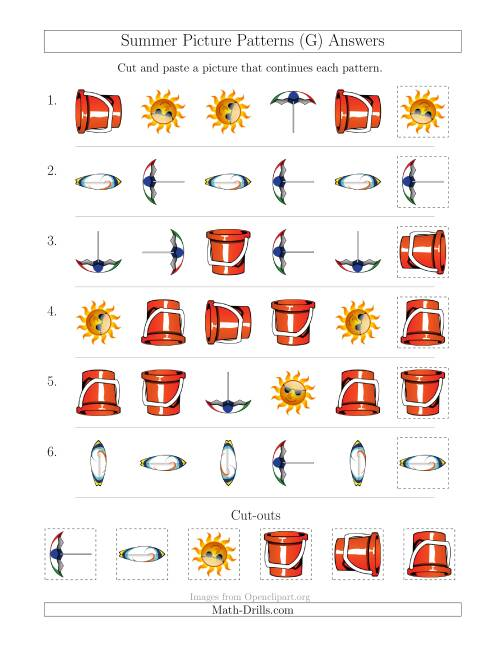 The Summer Picture Patterns with Shape and Rotation Attributes (G) Math Worksheet Page 2
