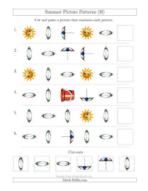 The Summer Picture Patterns with Shape and Rotation Attributes (H) Math Worksheet