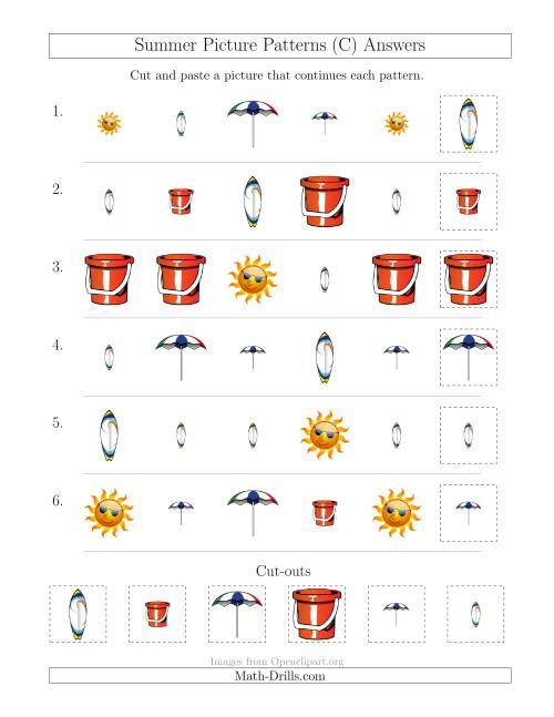 The Summer Picture Patterns with Shape and Size Attributes (C) Math Worksheet Page 2