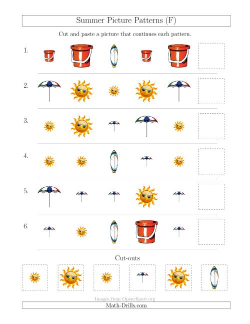 The Summer Picture Patterns with Shape and Size Attributes (F) Math Worksheet