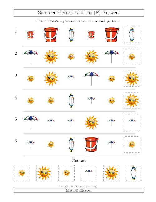 The Summer Picture Patterns with Shape and Size Attributes (F) Math Worksheet Page 2