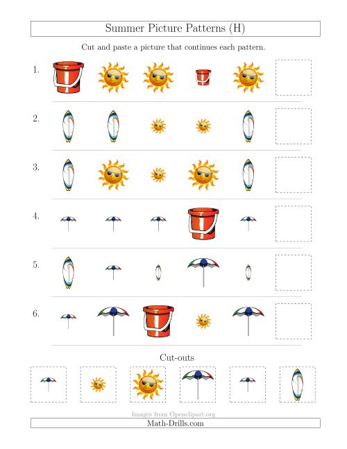 The Summer Picture Patterns with Shape and Size Attributes (H) Math Worksheet