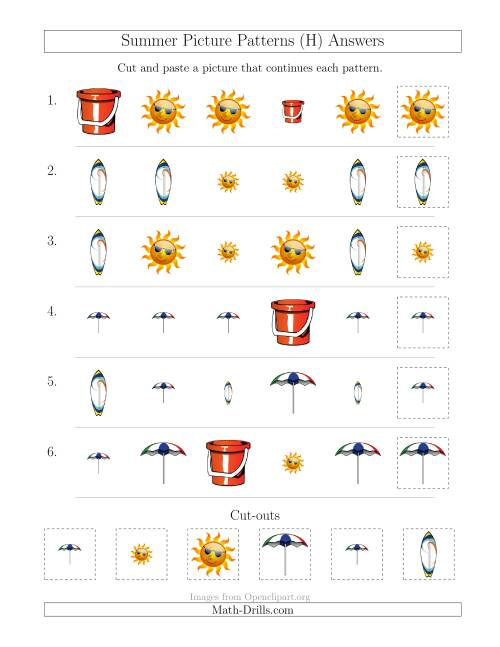 The Summer Picture Patterns with Shape and Size Attributes (H) Math Worksheet Page 2